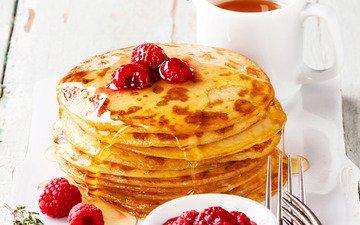 малина, чай, мед, выпечка, блинчики, блины, варенье, панкейк