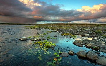 the sky, clouds, water, river, stones, sunset, dawn, russia, rain, the reeds, komi, the republic of komi