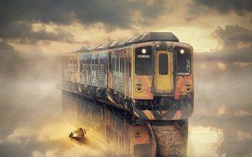 тучи, туман, лампа, поезд
