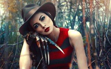 девушка, креатив, макияж, персонаж, фредди крюгер, косплей, девушка в шляпе, касплей