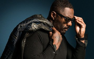 pose, glasses, actor, profile, tattoo, posture, idris elba, jacket on the shoulder