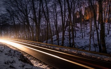 дорога, ночь, деревья, огни, снег, природа