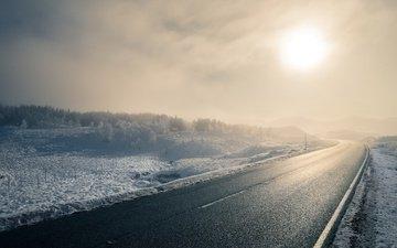 road, winter, morning, fog