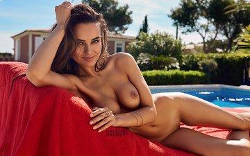 девушка, фон, поза, взгляд, позирует, голая, голенькой