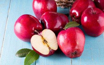 фрукты, яблоки, краcный, дерева, парное