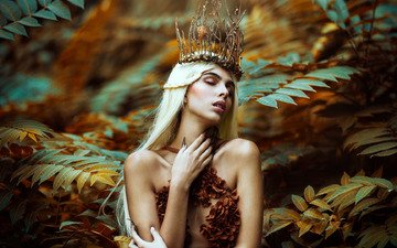 leaves, girl, pose, branches, hands, crown, ronny garcia, autumn queen, javiera molina