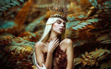 листья, девушка, поза, ветки, руки, корона, ronny garcia, autumn queen, javiera molina