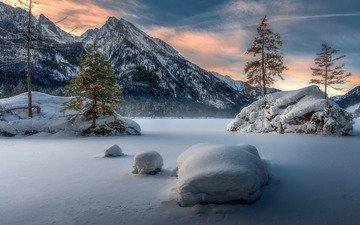 озеро, горы, зима, германия, бавария