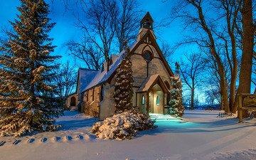 снег, зима, церковь, часовня