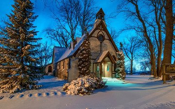 snow, winter, church, chapel