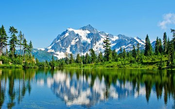 lake, mountains, forest