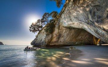 деревья, море, скала, залив, новая зеландия