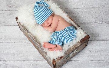 sleeping, boy, baby, cap, fur, wood, pants