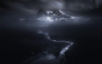 горы, снег, мрак, ручей, тьма
