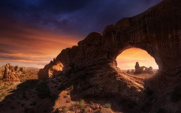 light, the evening, rocks, nature, shadow, usa, arch