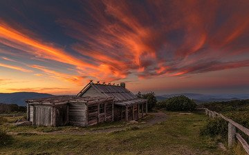 sunset, dawn, summer, house, australia, victoria, wabonga