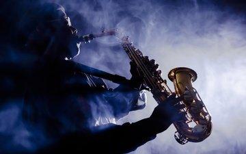 музыка, дым, музыкант, саксофон