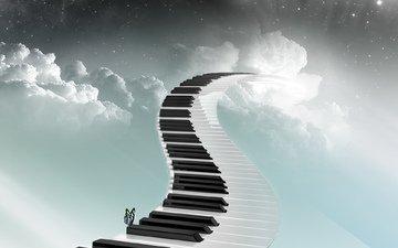 небо, настроение, музыка, мелодия, бабочка, клавиши