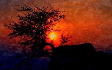 природа, закат, живопись