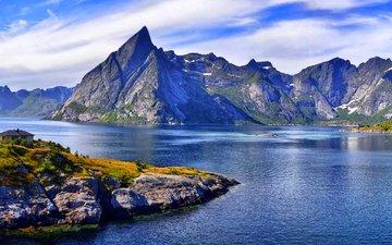озеро, горы, норвегия