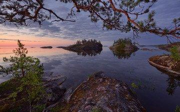 trees, water, lake, rocks, stones, russia, pine, islands, ladoga, lake ladoga