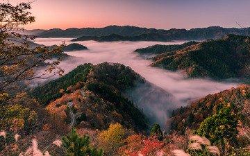японии, утренний туман, shiga prefecture, лесистые холмы