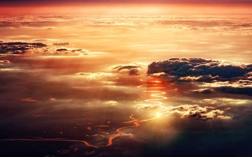 небо, свет, дорога, облака, вечер, закат