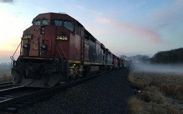 дорога, фон, туман, поезд, железная, локомотив