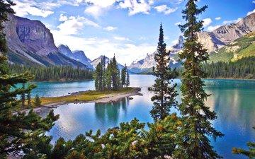 озеро, горы, лес, канада