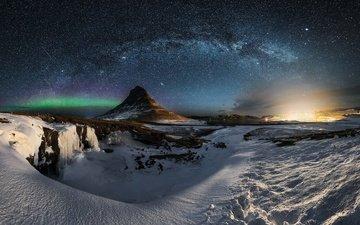небо, ночь, звезды, гора, млечный путь, исландия