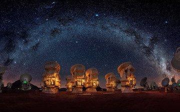 небо, ночь, звезды, млечный путь, радиотелескопы