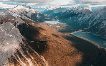 облака, озеро, горы, леса, озёра, долина