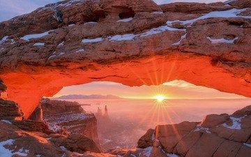 light, rocks, the sun, snow, winter, rays, morning, desert, dawn, usa, utah, canyonlands national park, mesa arc