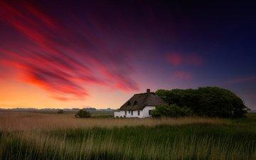 небо, облака, вечер, краски, дом, домик