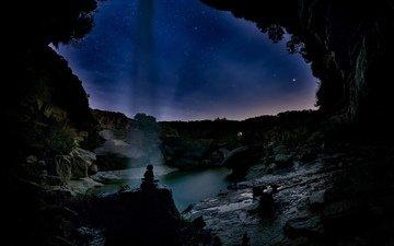 небо, трава, ночь, деревья, вода, горы, природа, космос, камни, лес, пейзаж, скала, звезды, песок, кусты, домик, пещера, испания, лапортельяда