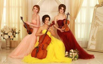 скрипка, девушки, классика, виолончель, брюнетки, музыканты, скрипачки, violin group dolls