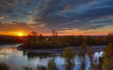 trees, river, nature, sunset, autumn