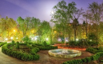 trees, lights, the evening, design, park, the bushes, fountain, russia, sakhalin
