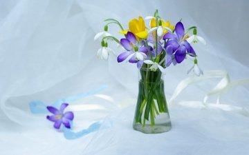 flowers, plants, beauty, spring, tenderness, a bunch, snowdrops, still life, crocuses, primroses, flora, composition, bouquets, april