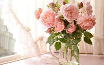 цветы, розы, окно, ваза, штора