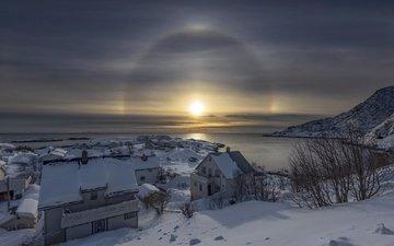 норвегии, reine, nordland, amazing sunbow