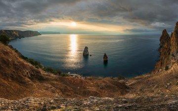 скалы, закат, море, черное море, побережье, россия, крым, севастополь, мыс фиолент