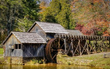 water, nature, mill, wheel, mabry mill