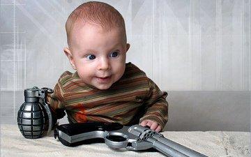 gun, look, child, pomegranate