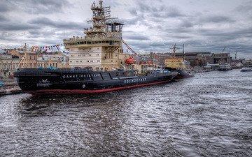 river, ship, autumn, saint petersburg, marina, tug