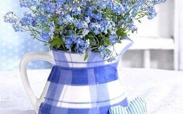 ваза, незабудки, сердечки, натюрморт