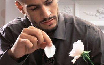 грусть, роза, лепесток, мужчина