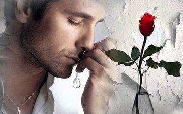 грусть, роза, мужчина, печаль