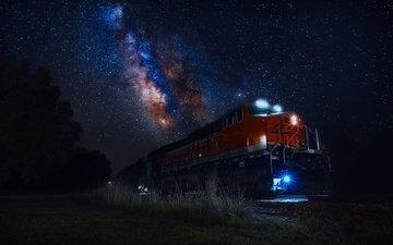 небо, свет, ночь, огни, звезды, поезд, млечный путь
