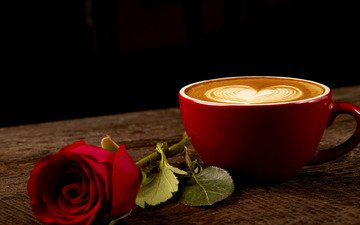 roses, rose, coffee, heart, bud, cup, romantic, red, red rose, wood, love
